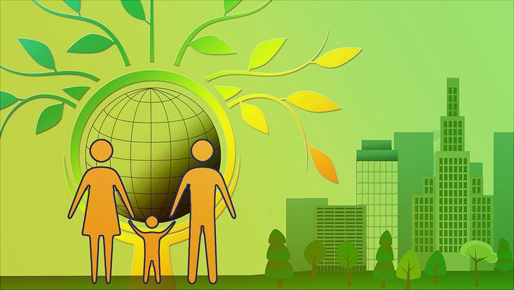 Stilisierte Darstellung in Grün/gelb mit einer Kleinfamilie. Das Kind stemmt eine Weltkugel vor dem Hintergrund von Natur und einer grünen Stadt.
