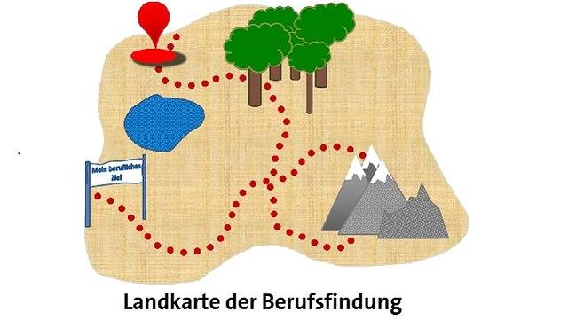 """Landkarte mit eingezeichnetem Weg zum """"beruflichen Ziel"""""""