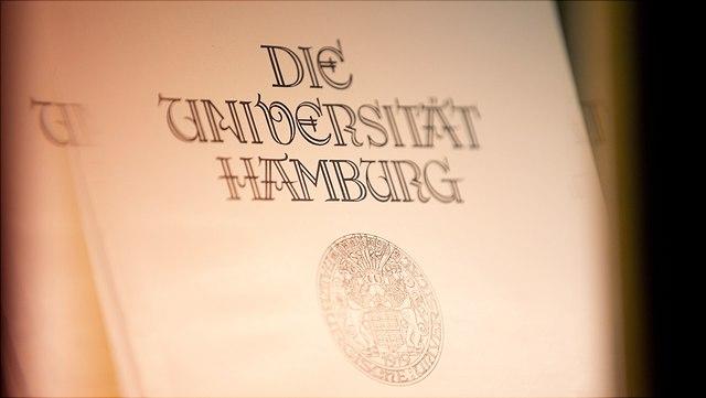 Historischer Druck des Logos der Universität Hamburg