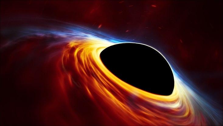 Supermassives Schwarzes Loch mit abgerissenem Stern (Illustration)
