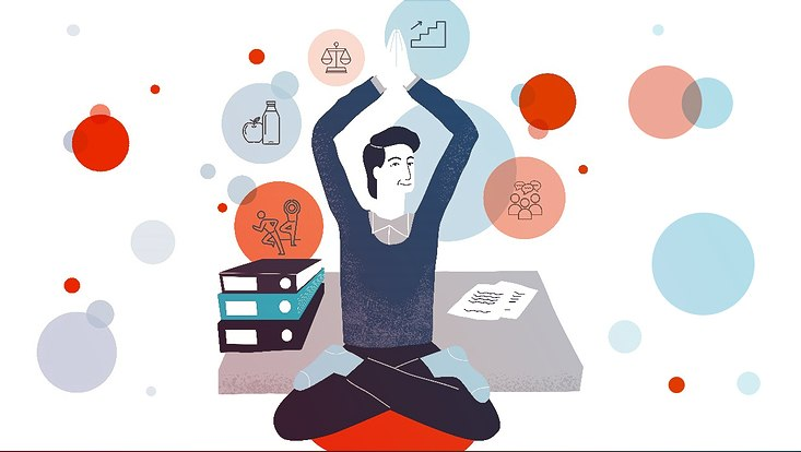 Illustration: Mann in Yoga-Position
