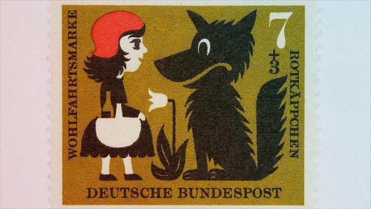 as Rotkäppchen und der Wolf auf einer Wohlfahrtsbriefmarke von 1960