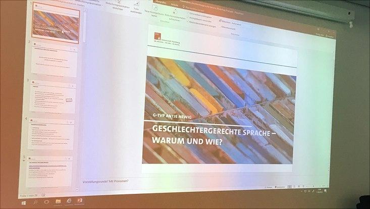 """An die Wand geworfene Powerpoint-Präsentation im Workshop """"Geschlechtergerechte Sprache"""""""