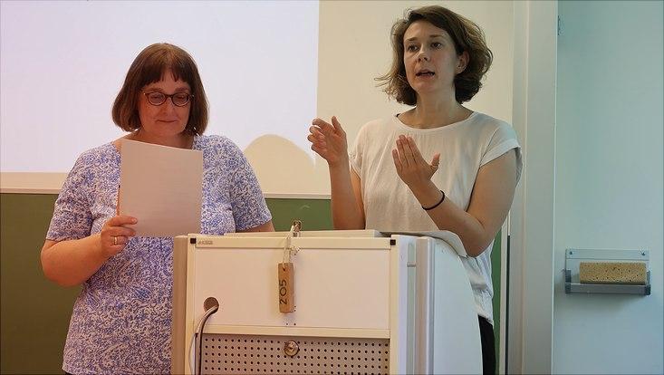 """Dr. Maike Gattermann-Kasper und Franziska Nitsche im Workshop """"Veranstaltungen inklusiver planen"""""""