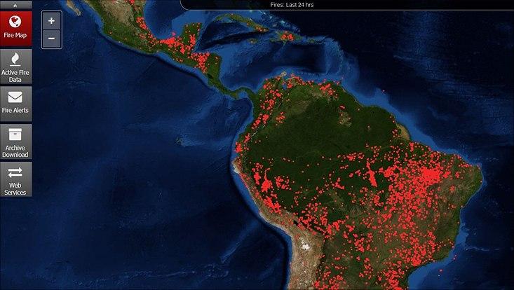 Karte Feuer Südamerika am 27. 08. 2019