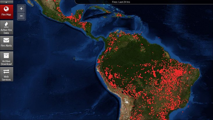 Map: fire in South America on 27 August 2019