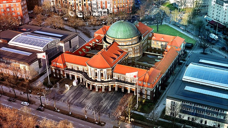 Das Hauptgebäude der Universität Hamburg von oben