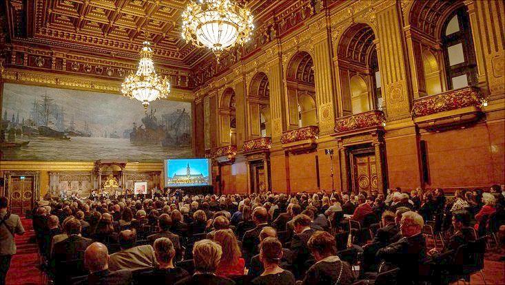 Senatsempfang zum Universitätsjubiläum im Großen Festsaal des Hamburger Rathauses