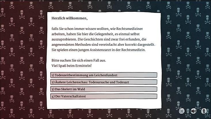 """Screenshot aus der Anwendung """"Abenteuer Rechtsmedizin"""""""