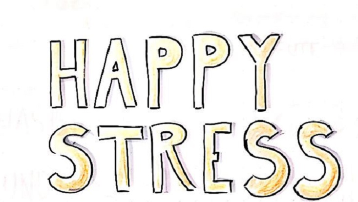 Schriftzug Happy Stress [englisch]