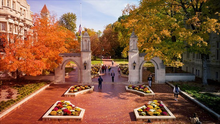 Das Bild zeigt den Campus der Indiana University Bloomington