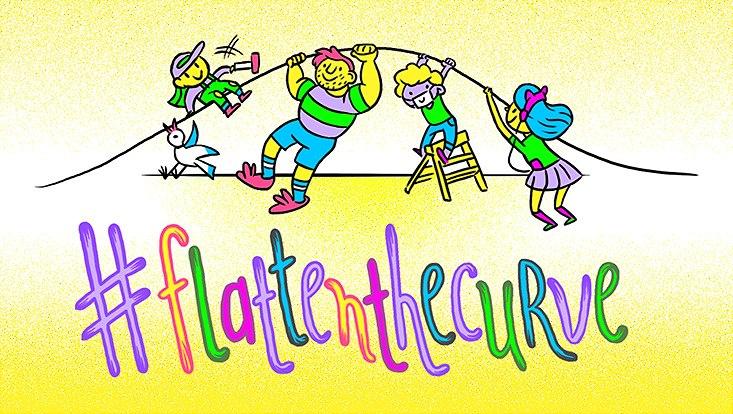 Coronavirus, kleine Figuren ziehen an einer Darstellung der Kurve dazu in Schreibschrift der Coronahashtag #flattenthecurve.