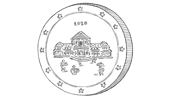 Gezeichnete Münze mit aufgeprägtem Hauptgebäude der Universität