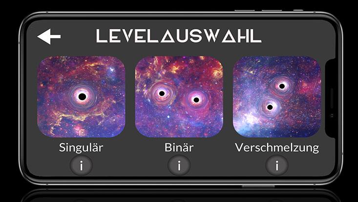 """Screenshot aus der App """"Trapped in Gravity"""""""