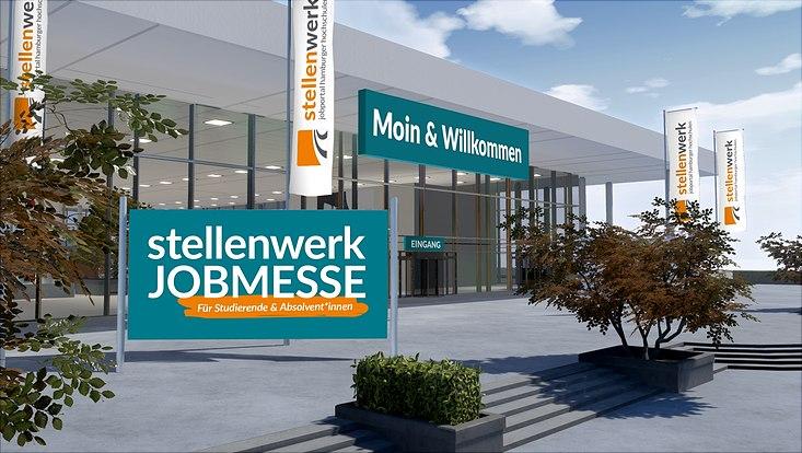 """Grafische Darstellung eines Messegebäudes mit Beschriftung """"stellenwerk Jobmesse"""""""