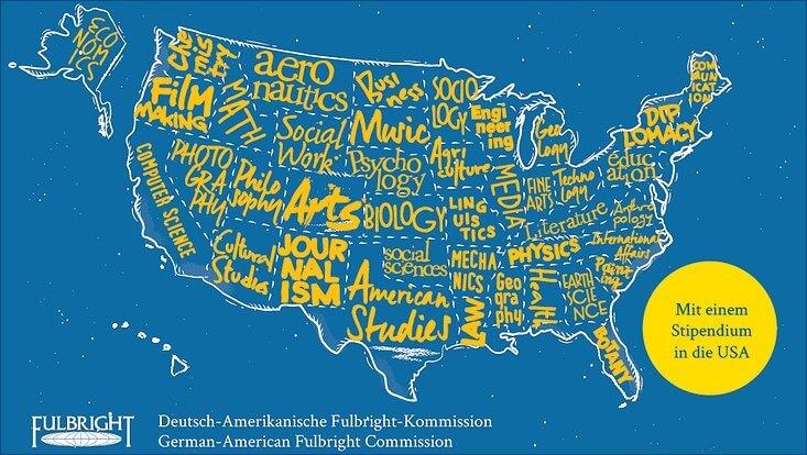 Postkartendesign bezüglich des Fulbright-Stipendiums mit einer Karte der USA in gelb-weiß auf blauem Grund