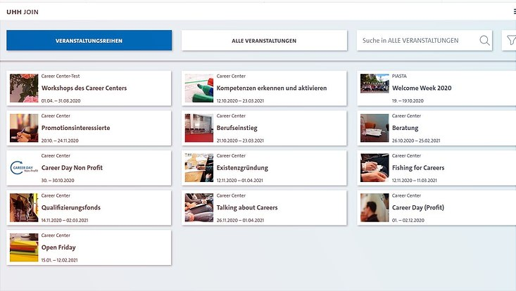Screenshot der Startseite des Buchungssystems UHH JOIN