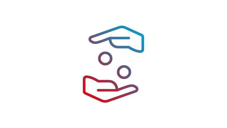 Zwei graphisch dargestellte Hände die zwei Kugeln auszutauschen scheinen