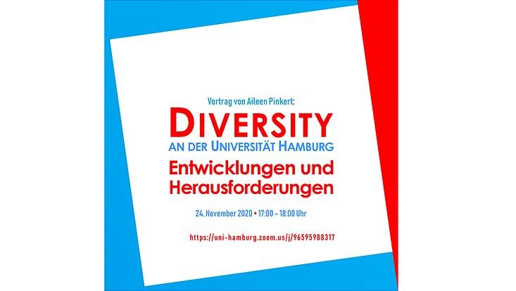 """Einladung zu Vortrag von Aileen Pinkert: """"Diversity an der Universität Hamburg. Entwicklungen und Herausforderungen"""" am 24. November 2020 von 17:00 bis 18:00 Uhr"""