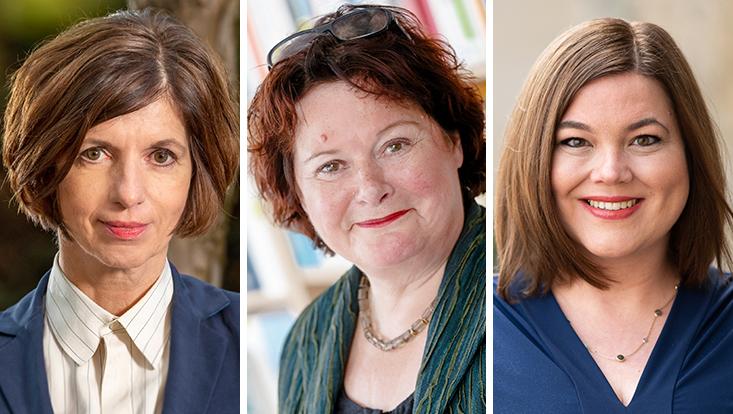 Die Portraits von Jutta Allmendinger, Ingrid Gogolin und Katharina Fegebank.
