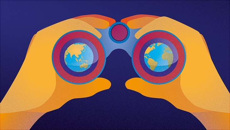 Graphic, two hands hold binoculars, globe is seen through the lenses