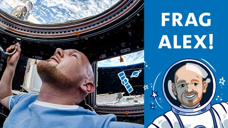 Illustration und Foto zum Astronauten-Talk mit Alexander Gerst
