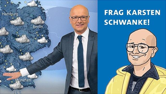 """Links zeigt das Bild Karsten Schwanke vor einer Wetterkarte und rechts ist eine Zeichnung von ihm mit der Überschrift """"Frag Karsten Schwanke!"""" zu sehen."""
