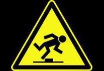 Warnzeichen vor Stolpergefahr