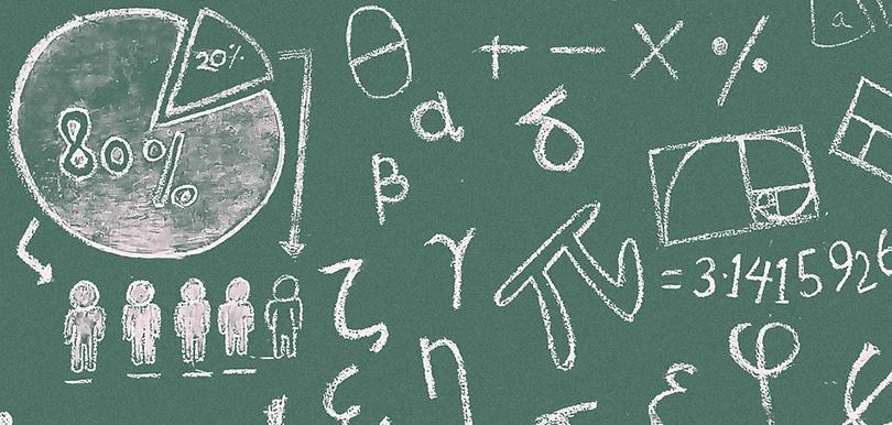 Mathematische Operatoren auf einer Schultafel