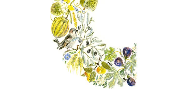 """Das Werk """"Blumenkranz"""" von Elfi Ekhoff."""