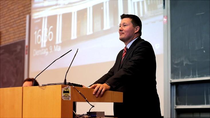 Prof. Dr. Martin Selmayr auf einer Podiumsdiskussion zum Thema EU-DSGVO an der Uni Hamburg