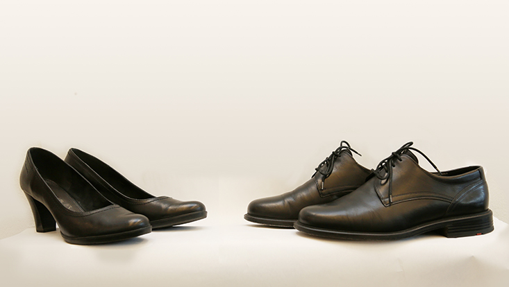 Schuhpaare als Symbol für die Gleichstellung