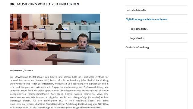 Screenshot der Webseite Digitalisierung von Lehren und Lernen
