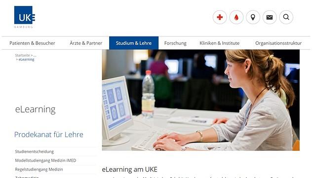 Screenshot der Webseite für eLearning des Universitätsklinikums Hamburg-Eppendorf (UKE).