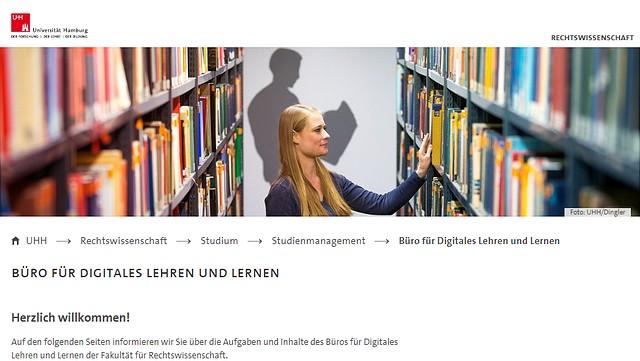 Screenshot der Webseite des Büros für Digitales Lehren und Lernen der Fakultät für Rechtswissenschaft.