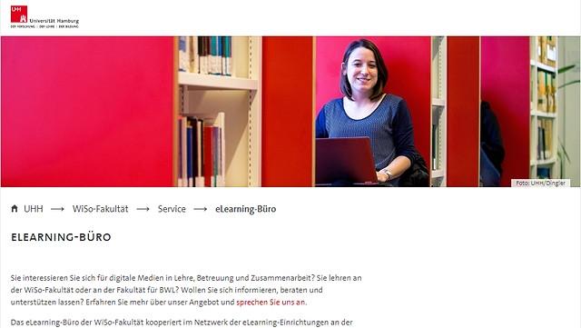 Screenshot der Webseite des eLearning Büros der Fakultät für Wirtschafts- und Sozialwissenschaften (WiSo).