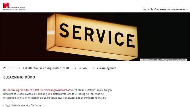 Screenshot der Webseite des eLearning büros der Fakultät für Erziehungswissenschaft (EW).