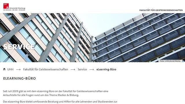 Screenshot der Webseite des eLearning Büros der Fakultät für Geisteswissenschaften.