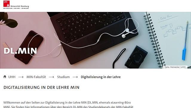 Screenshot der Webseite Digitalisierung in der Lehre in der Fakultät für Mathematik, Informatik und Naturwissenschaften (MIN).