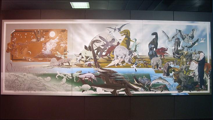 Michael Grey Wolf erzählt in diesem dreiteiligen Gemälde in Anlehnung an die drei Erdzeitalter die Evolution der Menschheit.