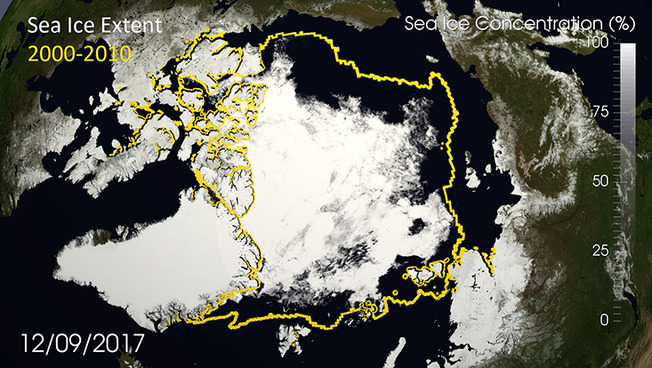 Die aktuelle Meereisfläche (weiß) im Vergleich zum Durchschnitt jeweils im September der Jahre 2000-2010 (gelb)