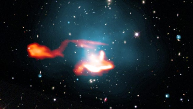 Image of galaxy cluster Abell 1033 using the LOFAR telescope