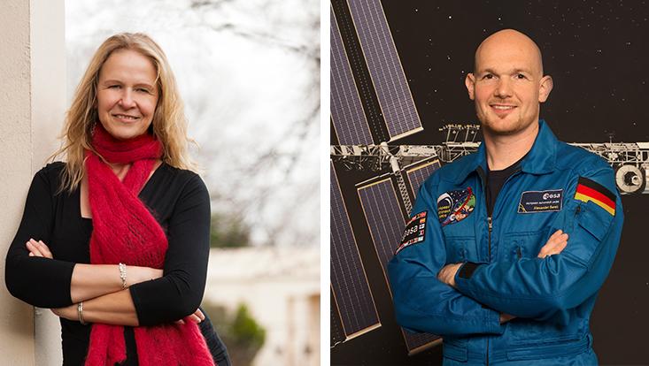 Bestseller-Autorin Cornelia Funke und Astronaut Alexander Gerst