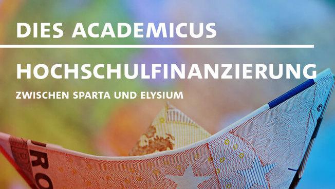 Plakat zum Dies Academicus mit zum Schiff gefaltetem Eurogeldschein