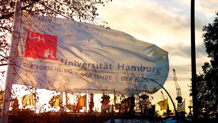 Wehende Fahne mit dem Logo der Universität Hamburg