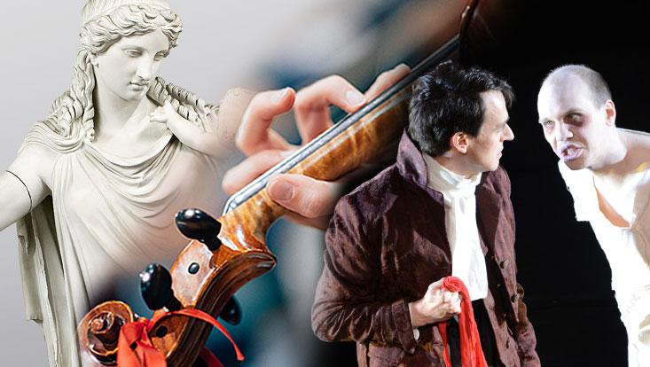 Collage aus Statue, Hand mit Geige und Schauspielern