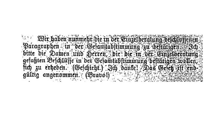 Auszug aus dem Protokoll der Dritten Sitzung der Bürgerschaft der Freien und Hansestadt Hamburg vom 28. März 1919