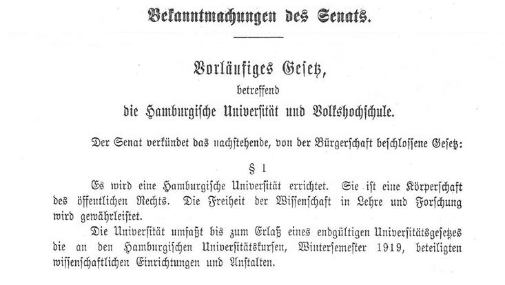 Auszug aus dem Amtsblatt der Freien und Hansestadt Hamburg vom Dienstag, 1. April 1919