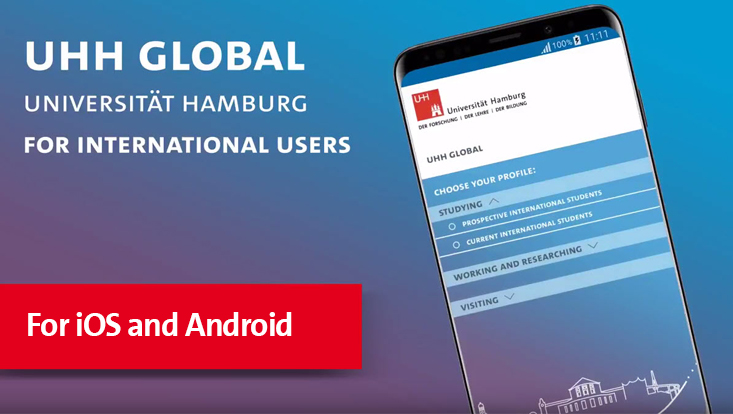 Werbescreen für die App UHH global der Universität Hamburg für iOS und Android