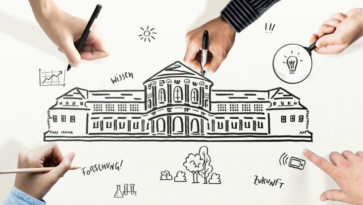 Das Bild zeigt eine Zeichnung des Hauptgebäudes der Universität und viele Hände, die dazu etwas zeichnen oder schreiben